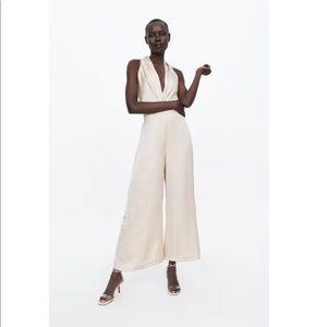 NWOT Champagne Zara Satin Jumpsuit